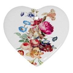 Fleur Vintage Floral Painting Heart Ornament (two Sides) by Samandel