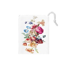 Fleur Vintage Floral Painting Drawstring Pouch (small)