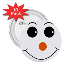 Happy Face With Orange Nose Vector File 2 25  Buttons (10 Pack)  by Samandel
