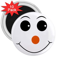 Happy Face With Orange Nose Vector File 3  Magnets (10 Pack)