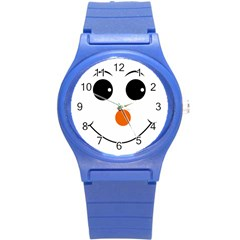 Happy Face With Orange Nose Vector File Round Plastic Sport Watch (s) by Samandel