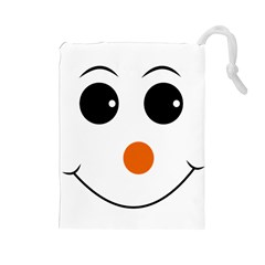 Happy Face With Orange Nose Vector File Drawstring Pouch (large)