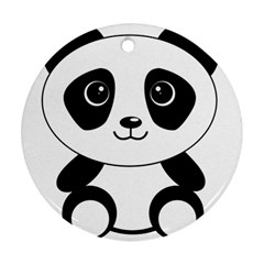 Bear Panda Bear Panda Animals Round Ornament (two Sides)