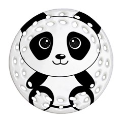Bear Panda Bear Panda Animals Round Filigree Ornament (two Sides)