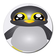 Cute Penguin Animal Round Mousepads by Samandel