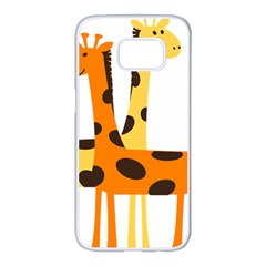 Giraffe Africa Safari Wildlife Samsung Galaxy S7 Edge White Seamless Case
