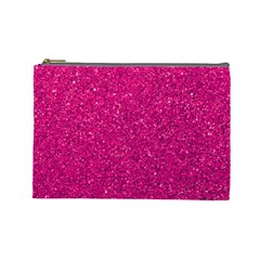 Hot Pink Glitter Cosmetic Bag (large)