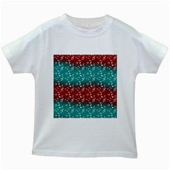 Red Teal Music Kids White T Shirts by snowwhitegirl
