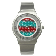 Red Teal Music Stainless Steel Watch by snowwhitegirl
