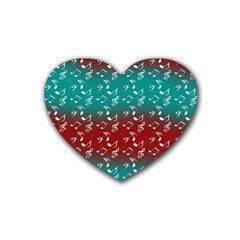 Red Teal Music Rubber Coaster (heart)  by snowwhitegirl