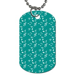 Teal Music Dog Tag (two Sides) by snowwhitegirl