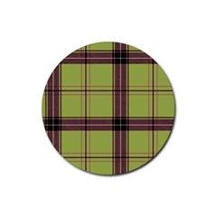 Avocado Green Plaid Rubber Round Coaster (4 Pack)