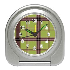 Avocado Green Plaid Travel Alarm Clock