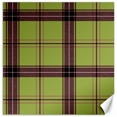 Avocado Green Plaid Canvas 16  X 16  by snowwhitegirl