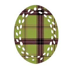 Avocado Green Plaid Ornament (oval Filigree) by snowwhitegirl