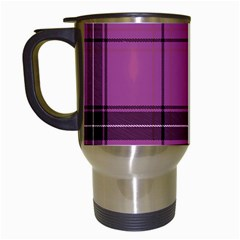 Violet Plaid Travel Mugs (white) by snowwhitegirl