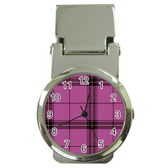 Violet Plaid Money Clip Watches by snowwhitegirl