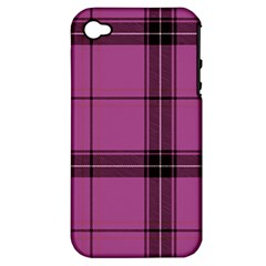 Violet Plaid Apple Iphone 4/4s Hardshell Case (pc+silicone) by snowwhitegirl