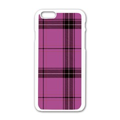 Violet Plaid Apple Iphone 6/6s White Enamel Case by snowwhitegirl