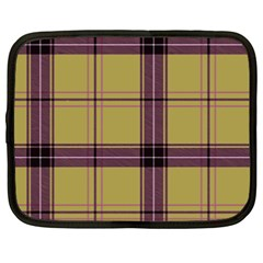 Beige Purple Plaid Netbook Case (xxl) by snowwhitegirl