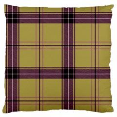 Beige Purple Plaid Large Flano Cushion Case (two Sides)