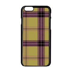 Beige Purple Plaid Apple Iphone 6/6s Black Enamel Case by snowwhitegirl