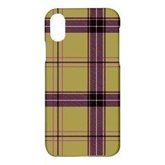 Beige Purple Plaid Apple Iphone X Hardshell Case by snowwhitegirl