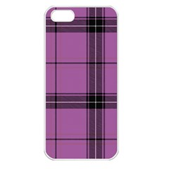 Lilac Plaid Apple Iphone 5 Seamless Case (white) by snowwhitegirl