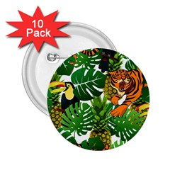 Tropical Pelican Tiger Jungle 2 25  Buttons (10 Pack)  by snowwhitegirl