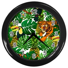 Tropical Pelican Tiger Jungle Wall Clock (black) by snowwhitegirl