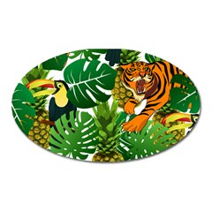 Tropical Pelican Tiger Jungle Oval Magnet by snowwhitegirl