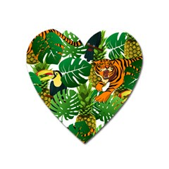 Tropical Pelican Tiger Jungle Heart Magnet by snowwhitegirl