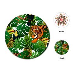 Tropical Pelican Tiger Jungle Playing Cards (round) by snowwhitegirl