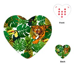Tropical Pelican Tiger Jungle Playing Cards (heart) by snowwhitegirl