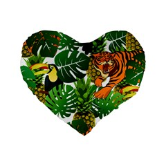 Tropical Pelican Tiger Jungle Standard 16  Premium Flano Heart Shape Cushions by snowwhitegirl