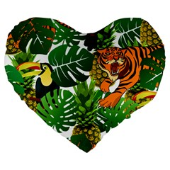 Tropical Pelican Tiger Jungle Large 19  Premium Flano Heart Shape Cushions by snowwhitegirl