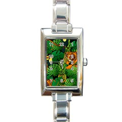 Tropical Pelican Tiger Jungle Black Rectangle Italian Charm Watch