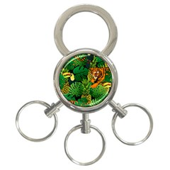 Tropical Pelican Tiger Jungle Black 3 Ring Key Chains by snowwhitegirl