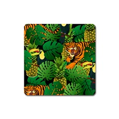Tropical Pelican Tiger Jungle Black Square Magnet by snowwhitegirl