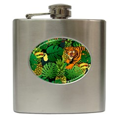 Tropical Pelican Tiger Jungle Black Hip Flask (6 Oz) by snowwhitegirl