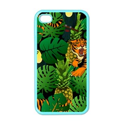 Tropical Pelican Tiger Jungle Black Apple Iphone 4 Case (color) by snowwhitegirl