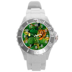 Tropical Pelican Tiger Jungle Black Round Plastic Sport Watch (l) by snowwhitegirl