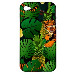 Tropical Pelican Tiger Jungle Black Apple Iphone 4/4s Hardshell Case (pc+silicone) by snowwhitegirl