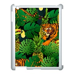 Tropical Pelican Tiger Jungle Black Apple Ipad 3/4 Case (white) by snowwhitegirl