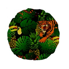 Tropical Pelican Tiger Jungle Black Standard 15  Premium Round Cushions by snowwhitegirl