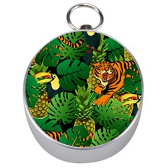 Tropical Pelican Tiger Jungle Black Silver Compasses by snowwhitegirl