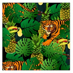 Tropical Pelican Tiger Jungle Black Large Satin Scarf (square) by snowwhitegirl