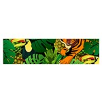 Tropical Pelican Tiger Jungle Black Satin Scarf (Oblong) Front