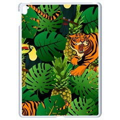 Tropical Pelican Tiger Jungle Black Apple Ipad Pro 9 7   White Seamless Case by snowwhitegirl