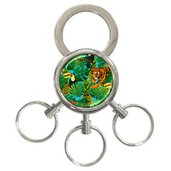 Tropical Pelican Tiger Jungle Blue 3 Ring Key Chains by snowwhitegirl